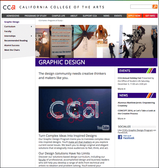 CCA graphic design program